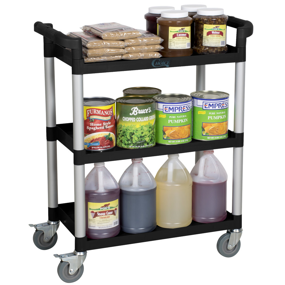 "32 7/8"" x 16 5/16"" x 37 13/16"" Black Three Shelf Utility Cart / Bus Cart"