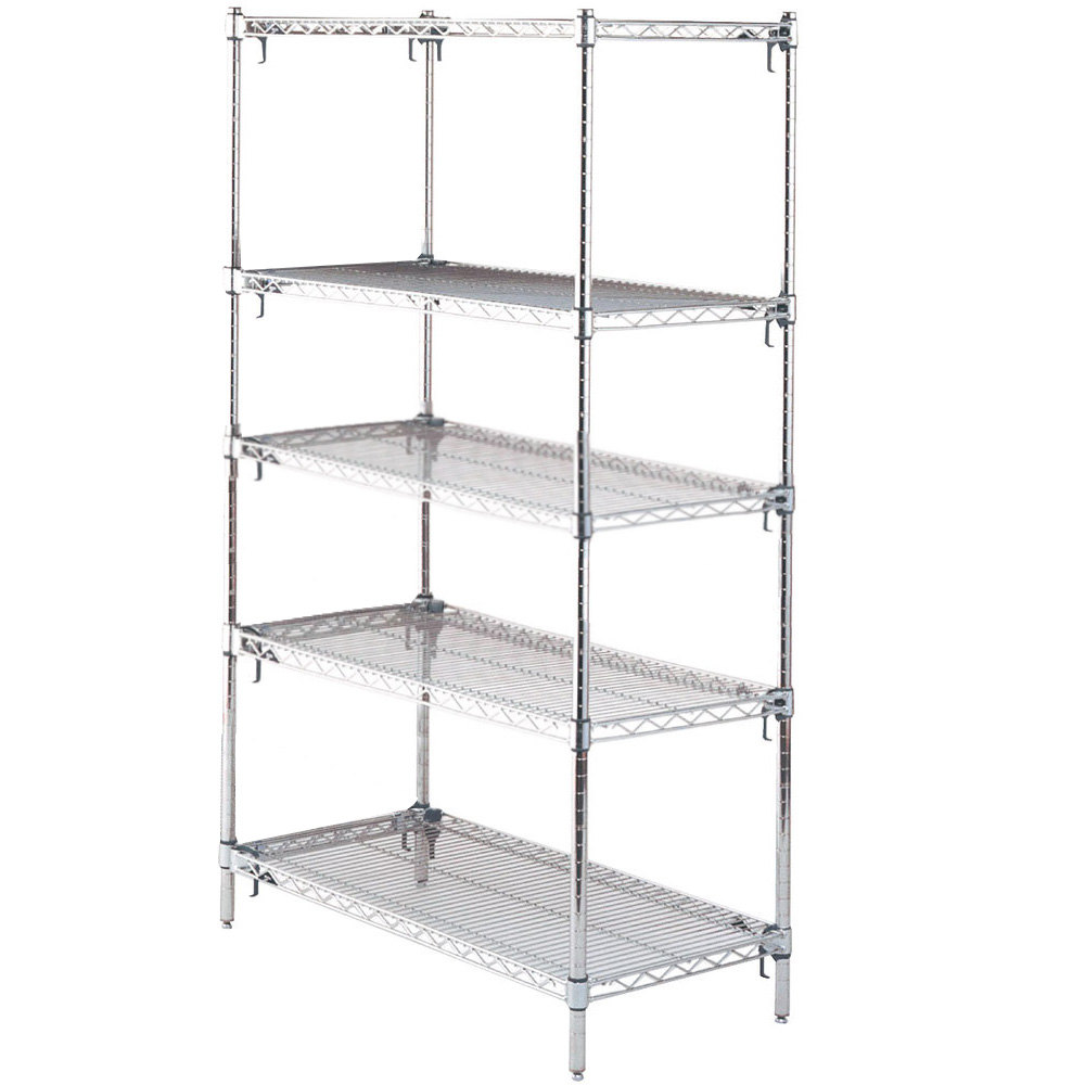"Metro 5A457C Stationary Super Erecta Adjustable 2 Series Chrome Wire Shelving Unit - 21"" x 48"" x 74"""