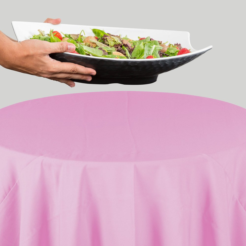 "120"" Round Pink 100% Polyester Hemmed Cloth Table Cover"