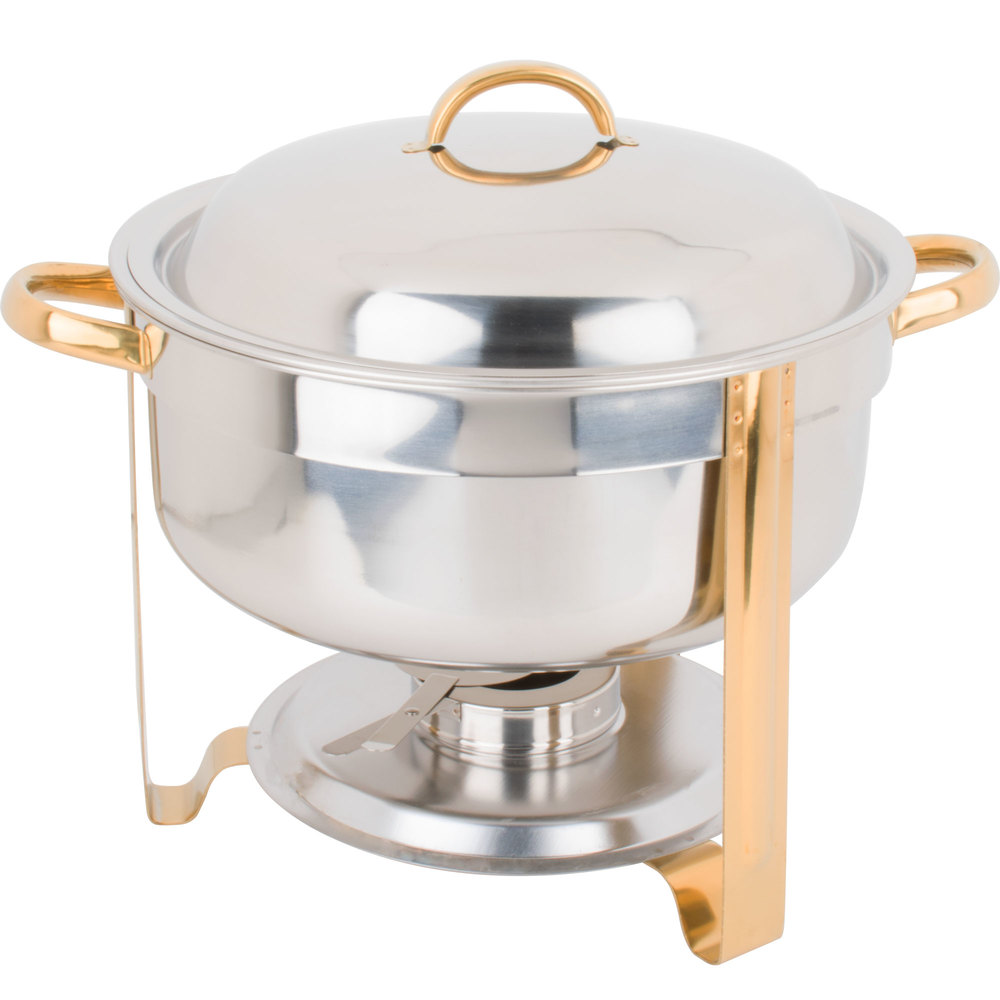 Choice 8 Qt Round Chafer With Gold Accents Webstaurantstore