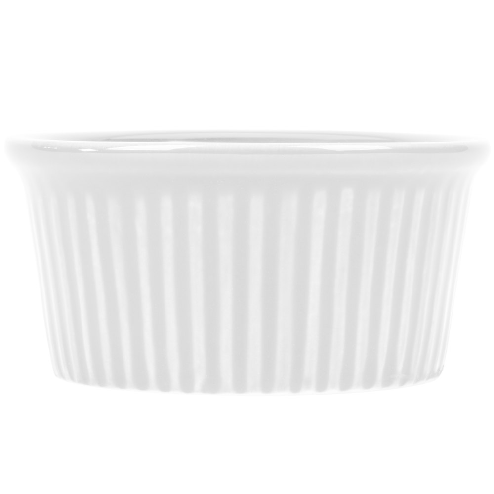 CAC RKF-4 Festiware 4 oz. Super White China Fluted Ramekin - 48/Case