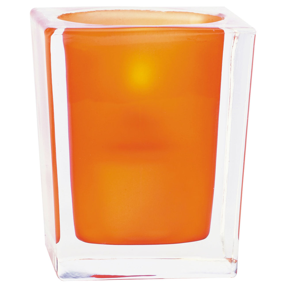 "Sterno Products 80240 3 3/4"" Orange Frost and Clear Square Liquid Candle Holder"