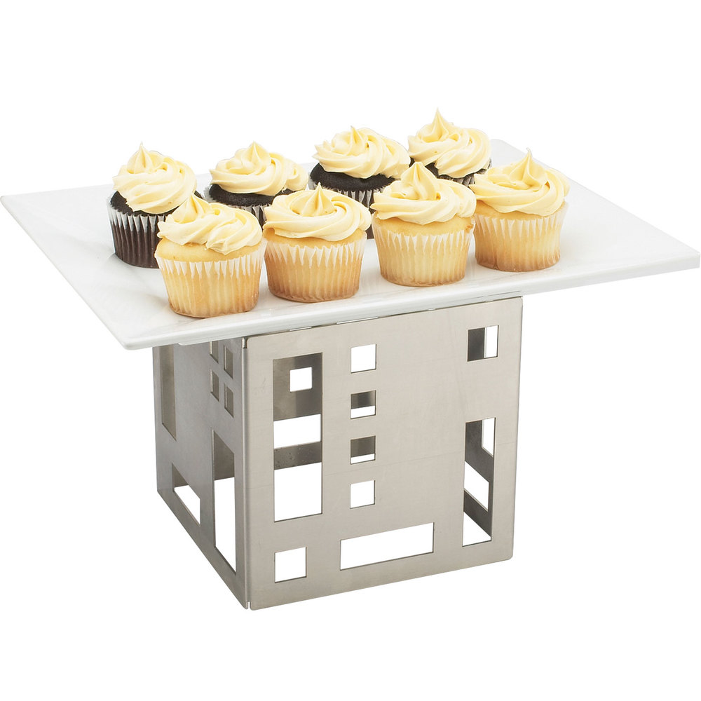"Cal-Mil 1607-5-55 5"" Stainless Steel Squared Cube Riser"