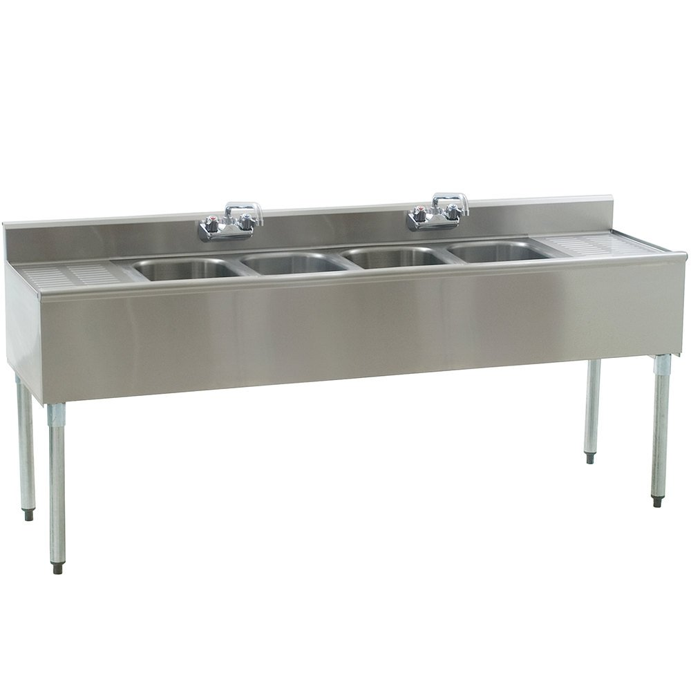 "Eagle Group B6C-4-18 72"" Underbar Sink with Four Compartments, Two Drainboards, and Two Faucets"