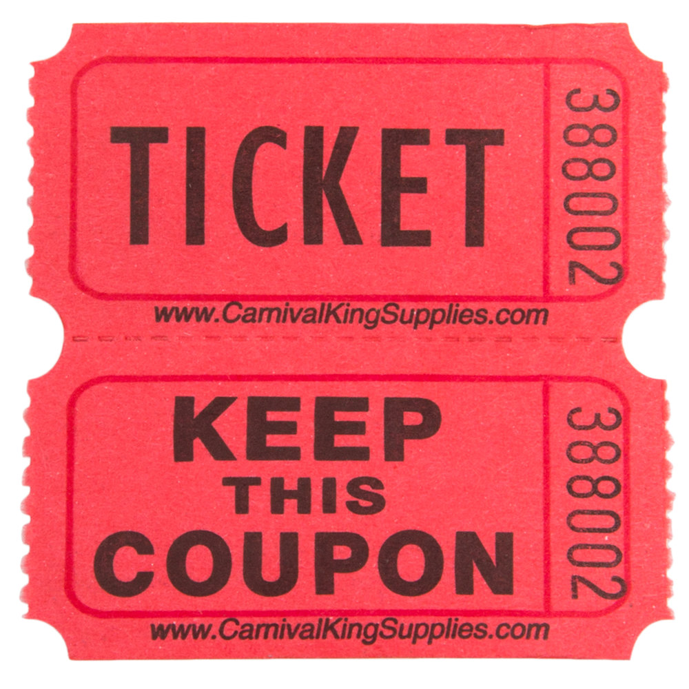 carnival king red 2 part raffle tickets 2000 roll main picture