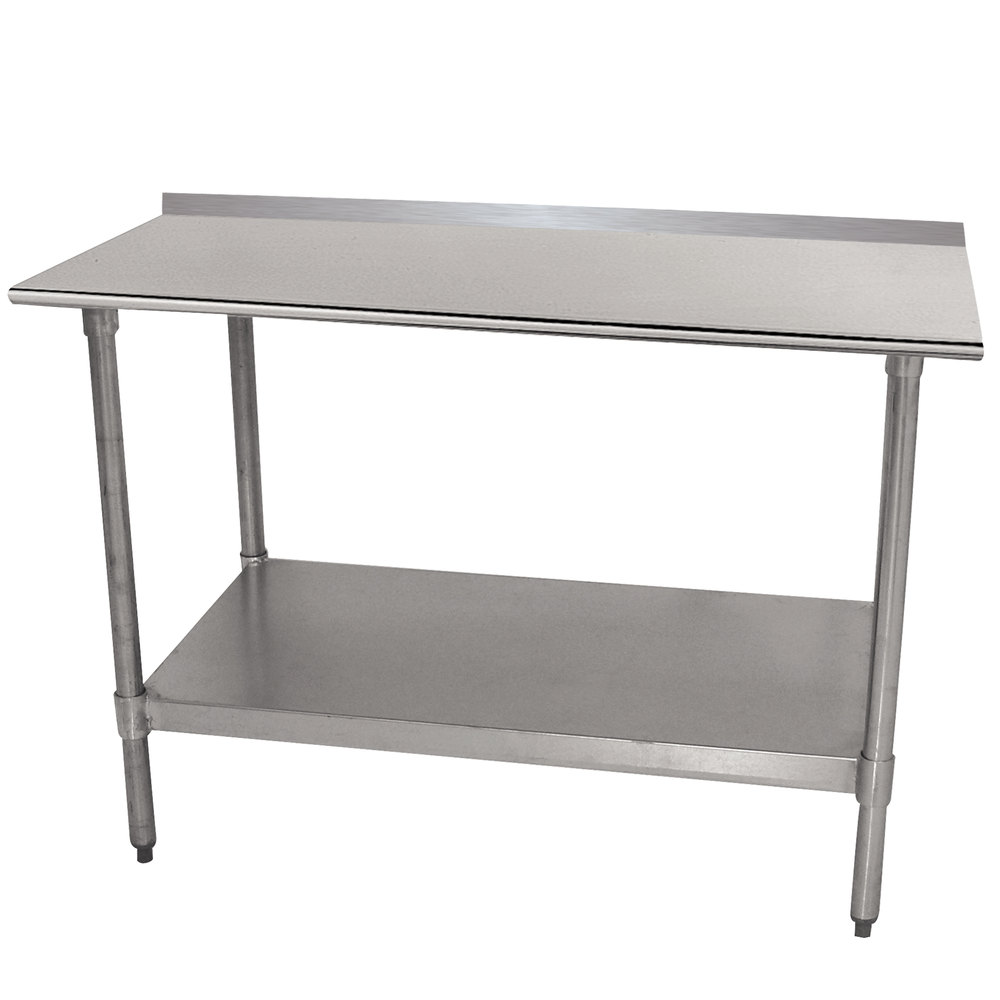 "Advance Tabco TTF-242-X 24"" x 24"" 18 Gauge Stainless Steel Work Table with 1 1/2"" Backsplash and Galvanized Undershelf"