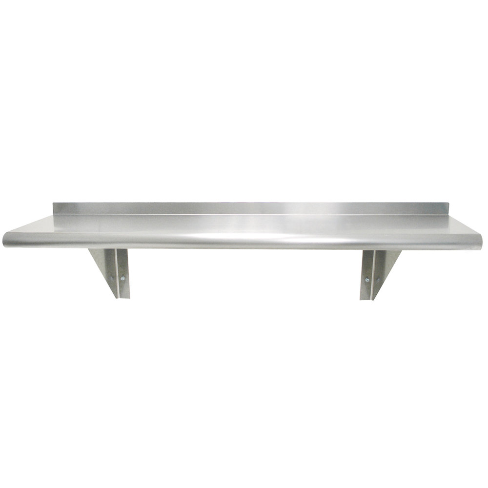 "Advance Tabco WS-15-144 15"" x 144"" Wall Shelf - Stainless Steel"