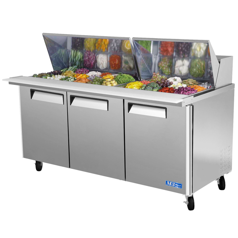 "Turbo Air MST-72-30 72"" M3 Series Mega Top Refrigerated Salad / Sandwich Prep Table with Three Doors"