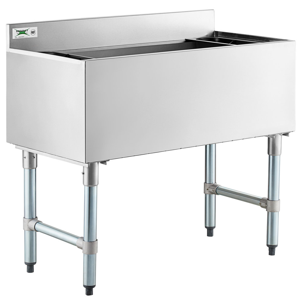 Regency 18 inch x 36 inch Underbar Ice Bin with 7 Circuit Post-Mix Cold Plate and Bottle Holders - 79 lb.