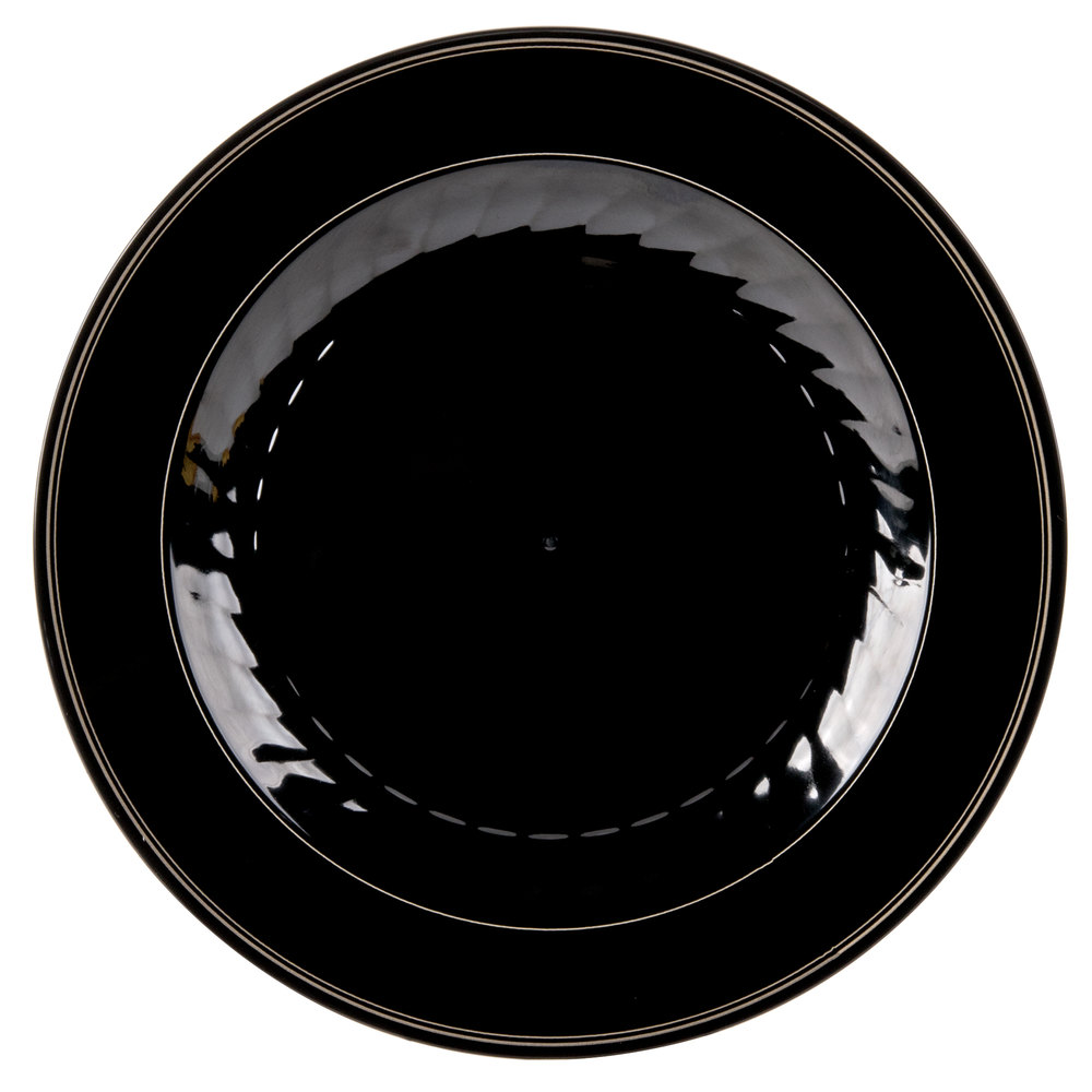 "WNA Comet MP75BKGLD Black Masterpiece Plate with Gold Accent Bands -7 1/2"" 150 / Case"