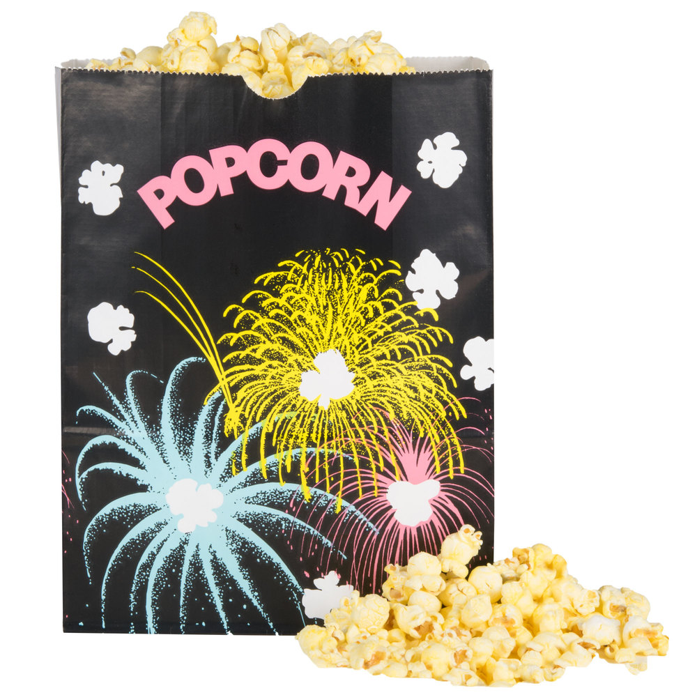 "Bagcraft Papercon 300450 7 1/2"" x 3 1/2"" x 9"" 130 oz. Funburst Design Popcorn Bag - 500/Case"