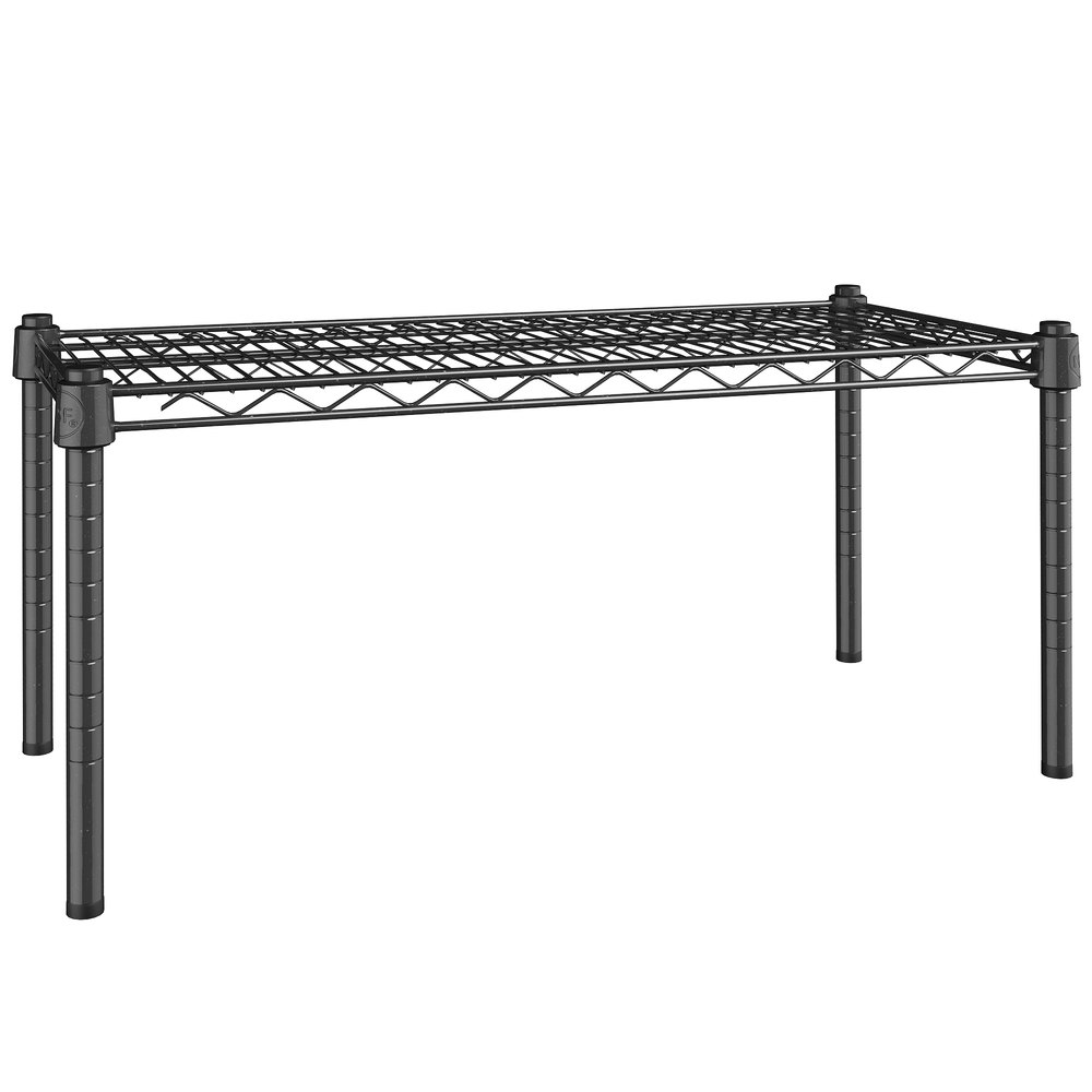 Regency 14 inch x 30 inch NSF Black Epoxy Dunnage Shelf with 14 inch Posts