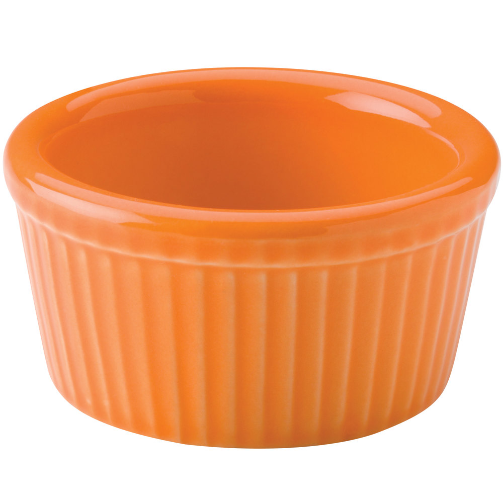 Hall China 30834325 Tangerine 2.75 oz. Colorations Fluted Ramekin - 36 / Case