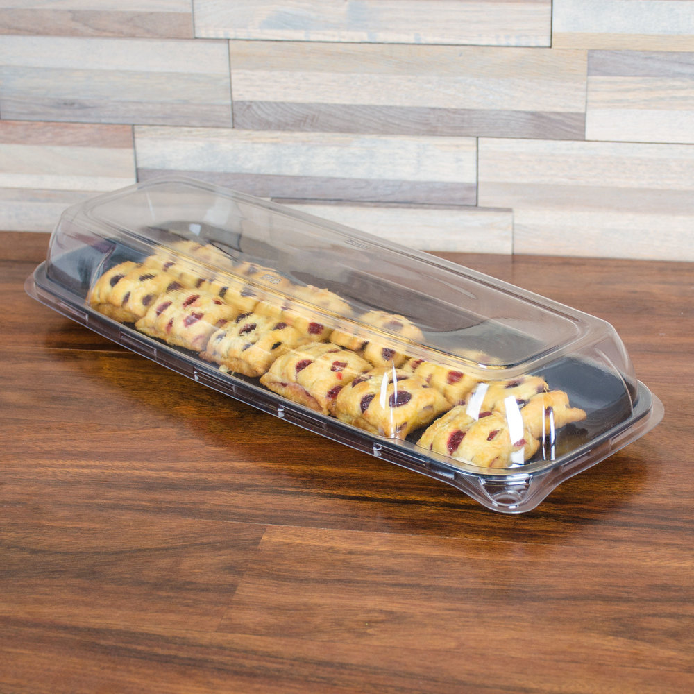 "Sabert 5618 Mozaik 17 3/4"" x 6 3/4"" Clear Plastic Platter / Catering Tray Lid - 5/Pack"