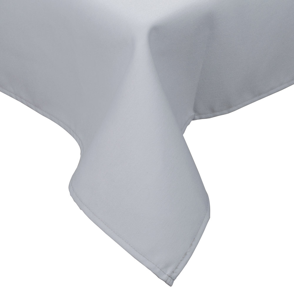 "72"" x 120"" Gray Hemmed Polyspun Cloth Table Cover"