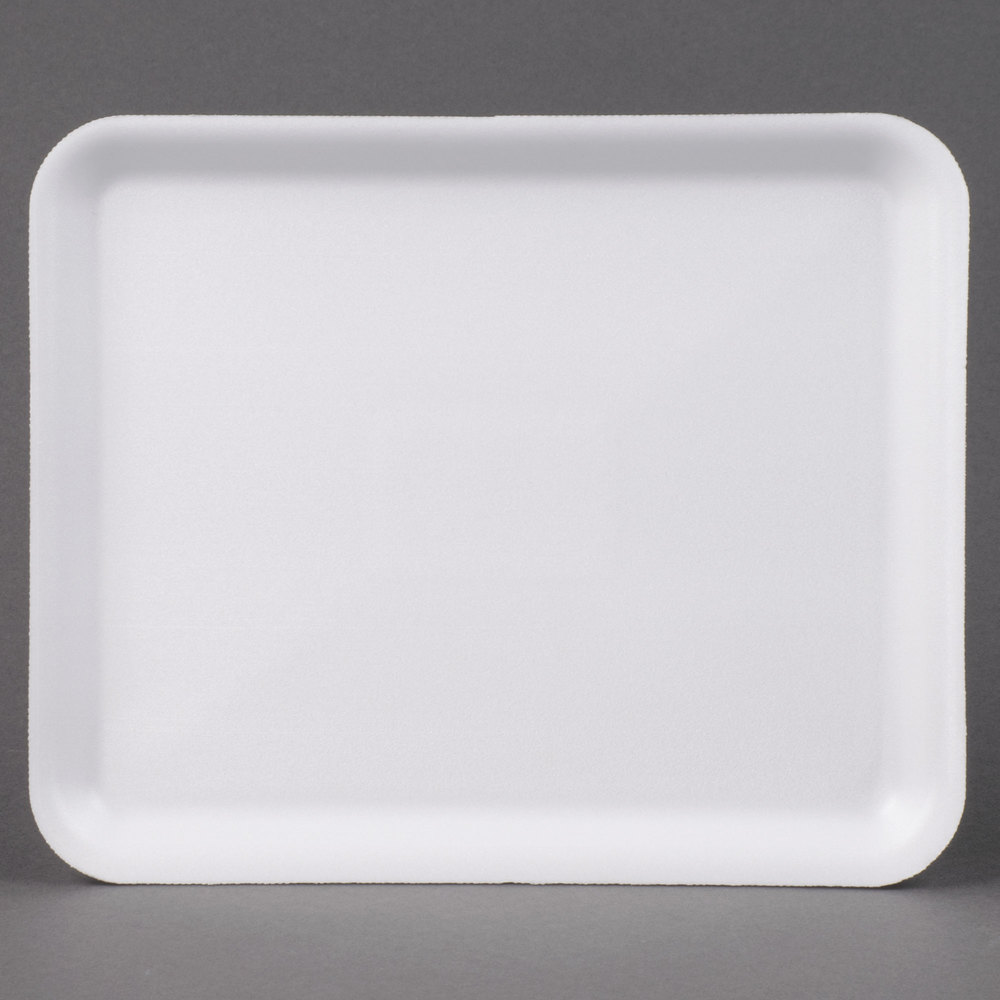 "Genpak 1012S (#12S) White 11 1/4"" x 9 1/4"" x 1/2"" Foam Supermarket Tray - 125/Pack"