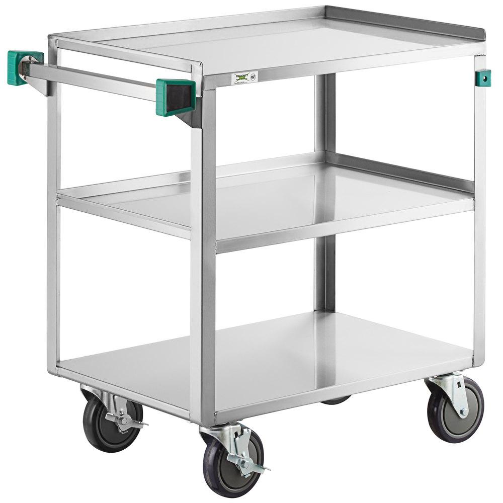 Regency 19 inch x 31 inch Three Shelf 18-Gauge Stainless Steel Utility Cart - Fully Welded