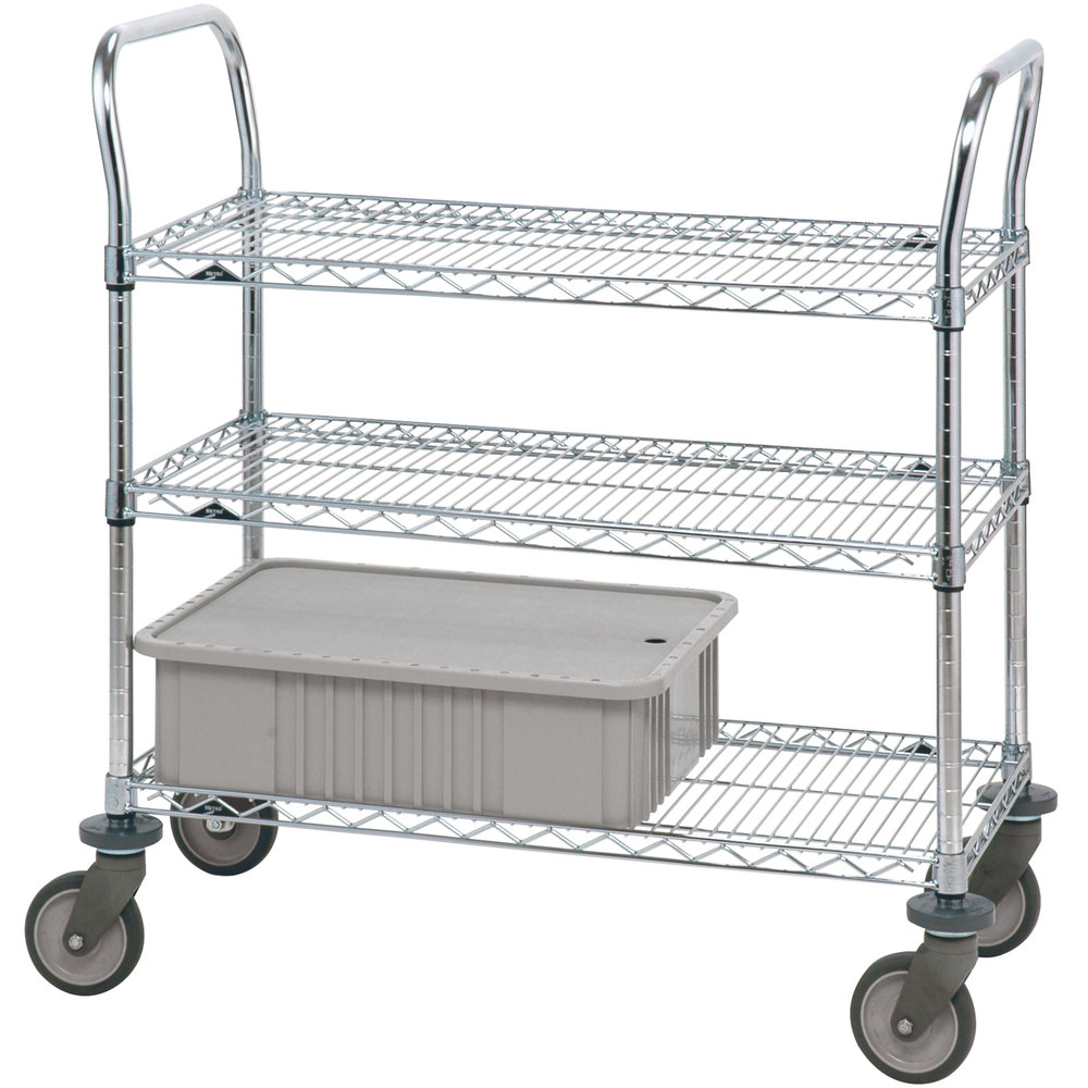 "Metro 3SPN33PS Super Erecta Stainless Steel Three Shelf Heavy Duty Utility Cart with Polyurethane Casters - 18"" x 36"" x 39"""