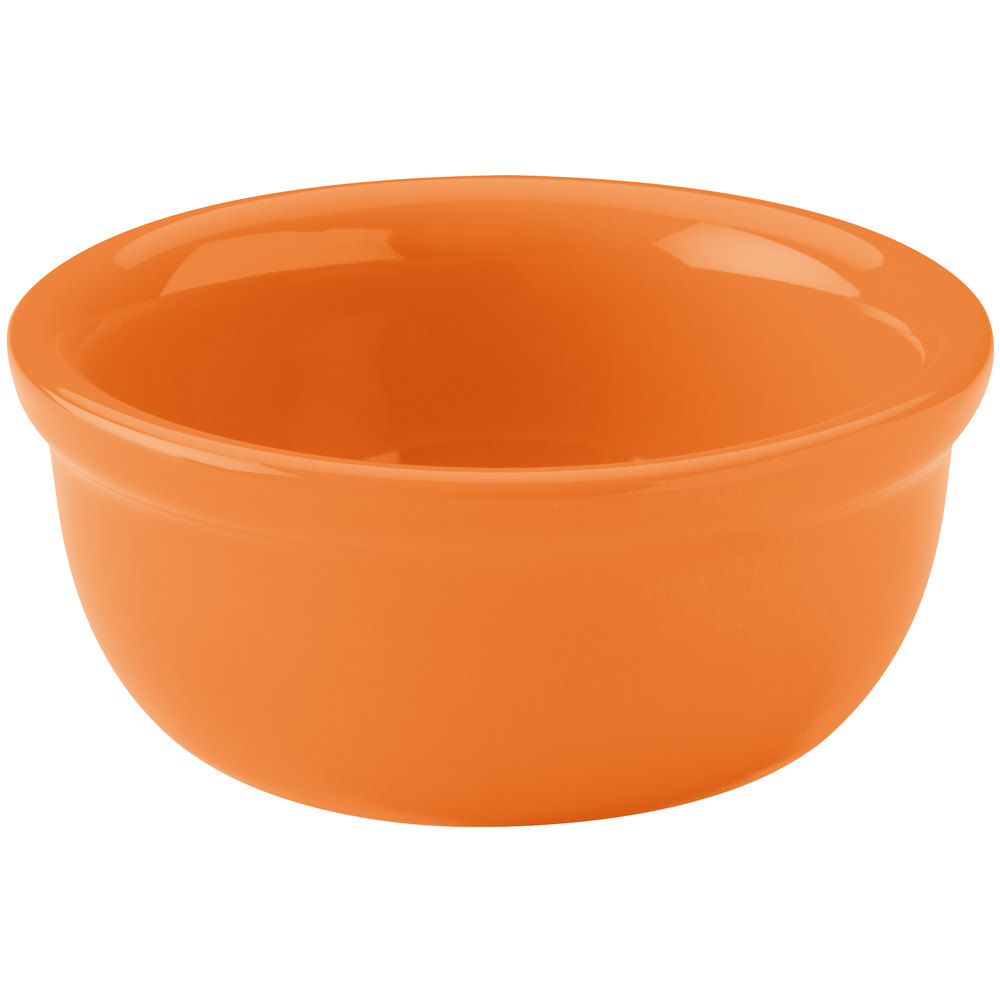 Hall China 30413325 Tangerine 8 oz. Colorations Baking Bowl - 24/Case