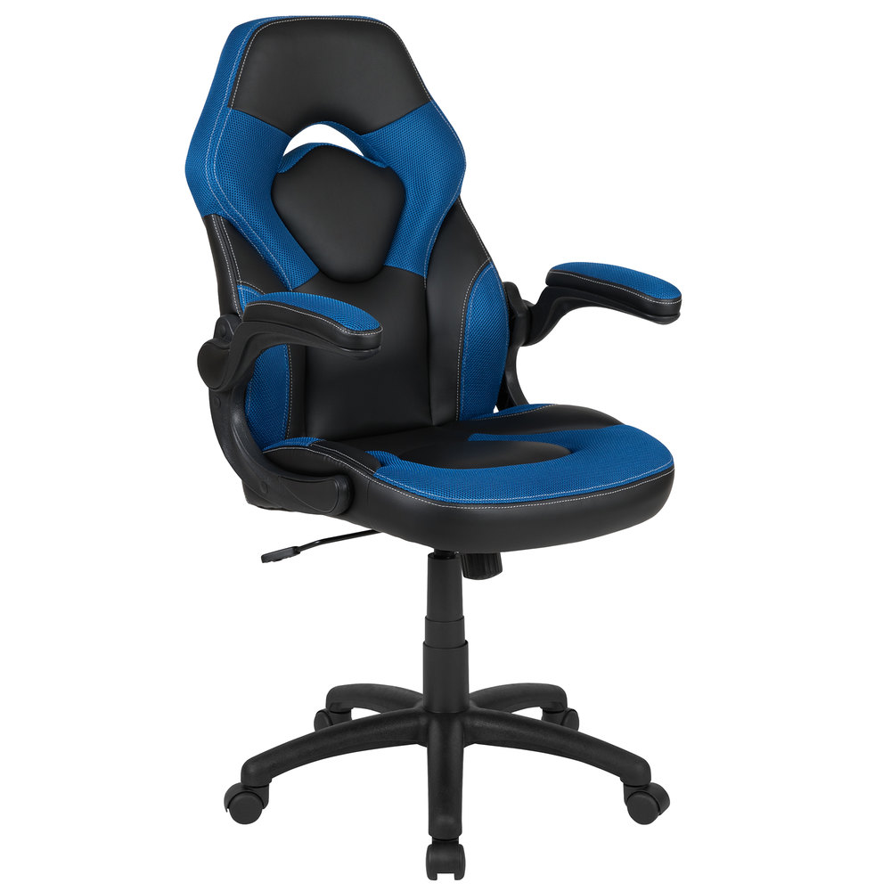 Pleasing Flash Furniture Ch 00095 Bl Gg High Back Blue Leathersoft Swivel Office Chair Video Game Chair With Flip Up Arms Onthecornerstone Fun Painted Chair Ideas Images Onthecornerstoneorg