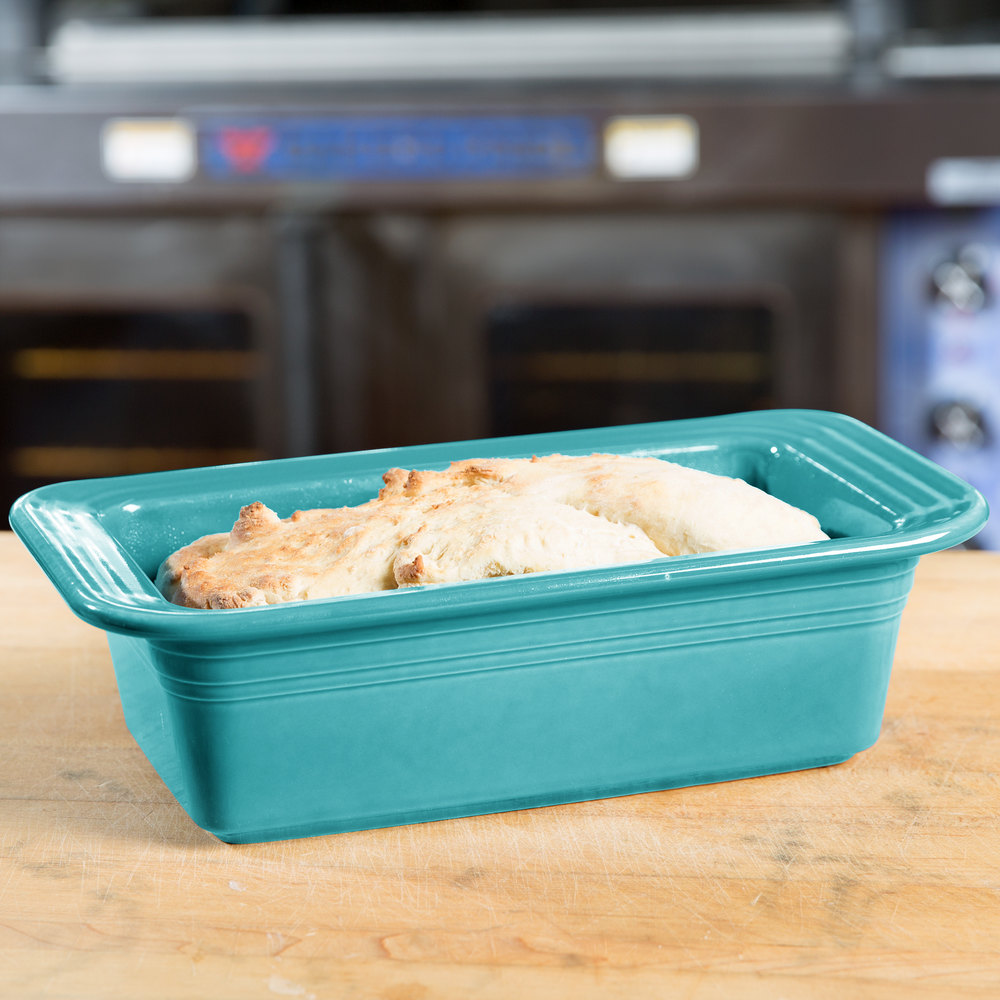 "Homer Laughlin 813107 Fiesta Turquoise 5 3/4"" x 10 3/4"" x 3"" Loaf Pan - 3/Case"