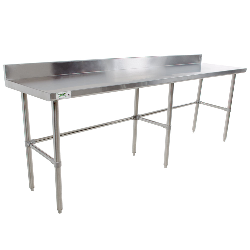 "Regency 30"" x 120"" 16-Gauge 304 Stainless Steel Commercial Open Base Work Table with 4"" Backsplash"
