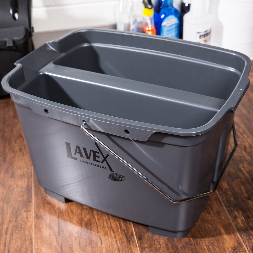 Lavex Janitorial 19.5 Qt. Gray Divided Plastic Bucket