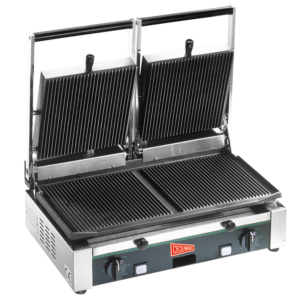 "Cecilware TSG-2G Double 19 3/4"" x 10"" Panini Sandwich Grill with Grooved Surfaces - 240V"