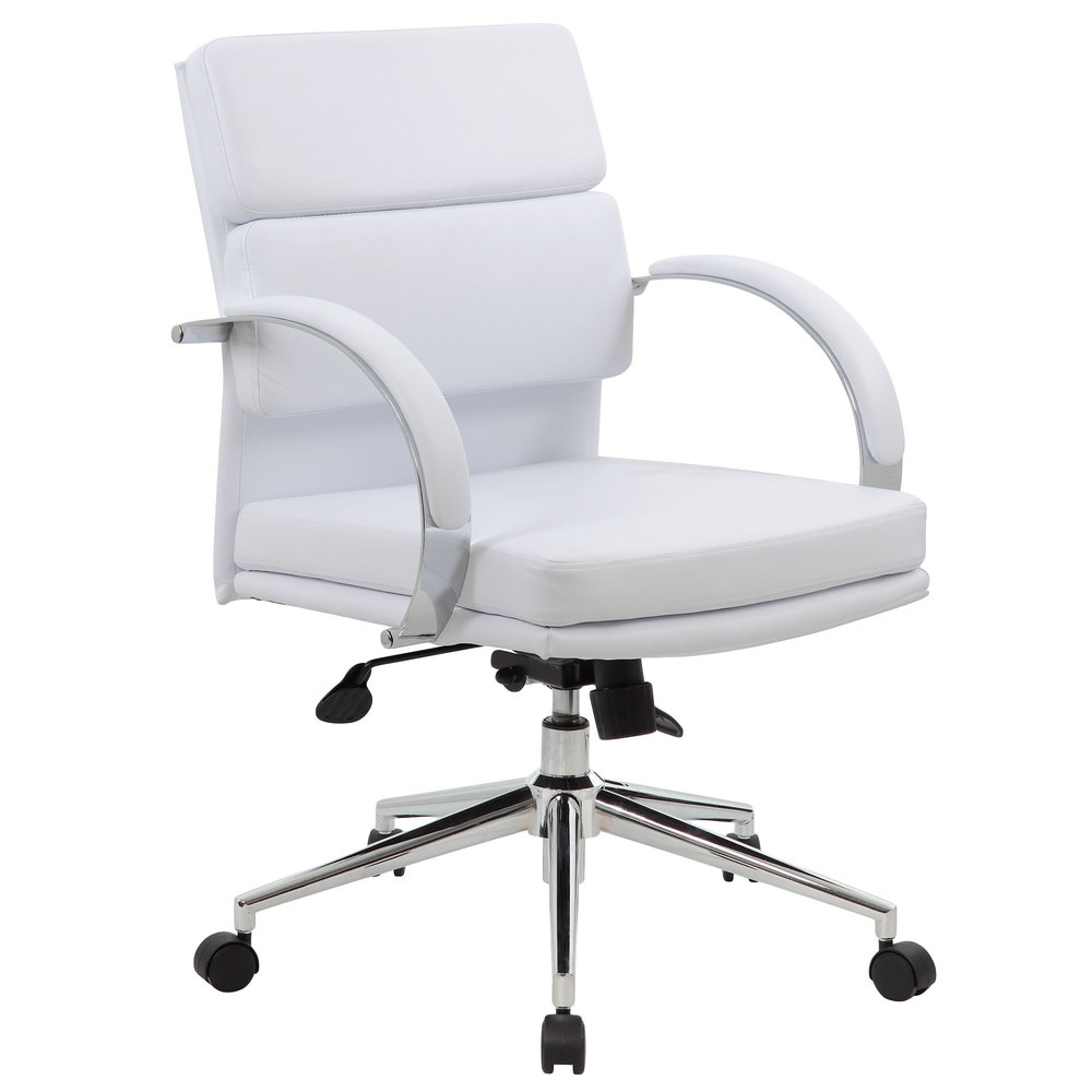 Boss B38-WT White CaressoftPlus Mid Back Executive Chair