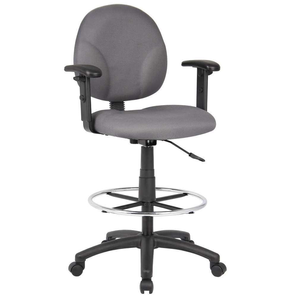 Swell Boss B1691 Gy Gray Fabric Drafting Stool With Adjustable Arms And Footring Creativecarmelina Interior Chair Design Creativecarmelinacom