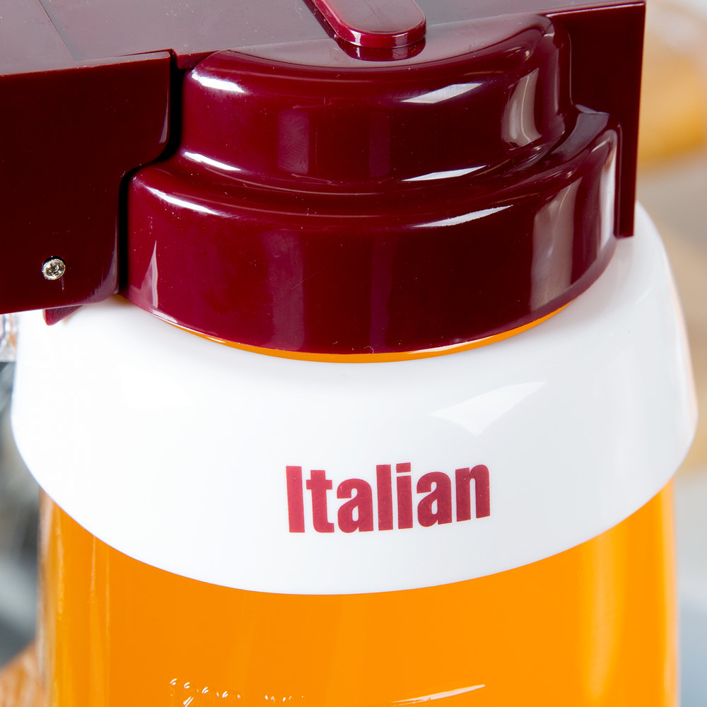 "Tablecraft CM4 Imprinted White Plastic ""Italian"" Salad Dressing Dispenser Collar with Maroon Lettering"