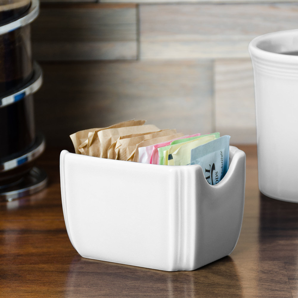 "Homer Laughlin 479100 Fiesta White 3 1/2"" x 2 3/8"" Sugar Caddy - 12/Case"