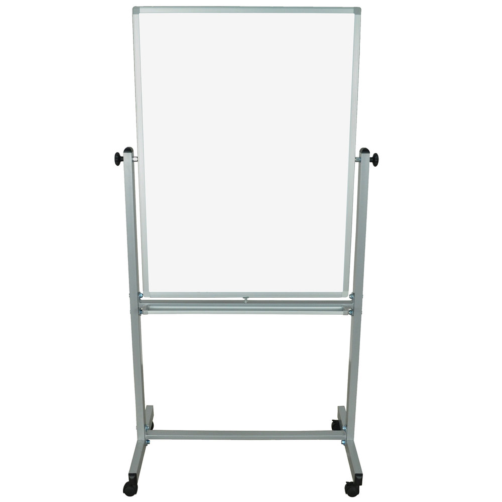 "Luxor / H. Wilson MB3040WW 29 7/8"" x 39 3/8"" Double-Sided Whiteboard with Aluminum Frame and Stand"