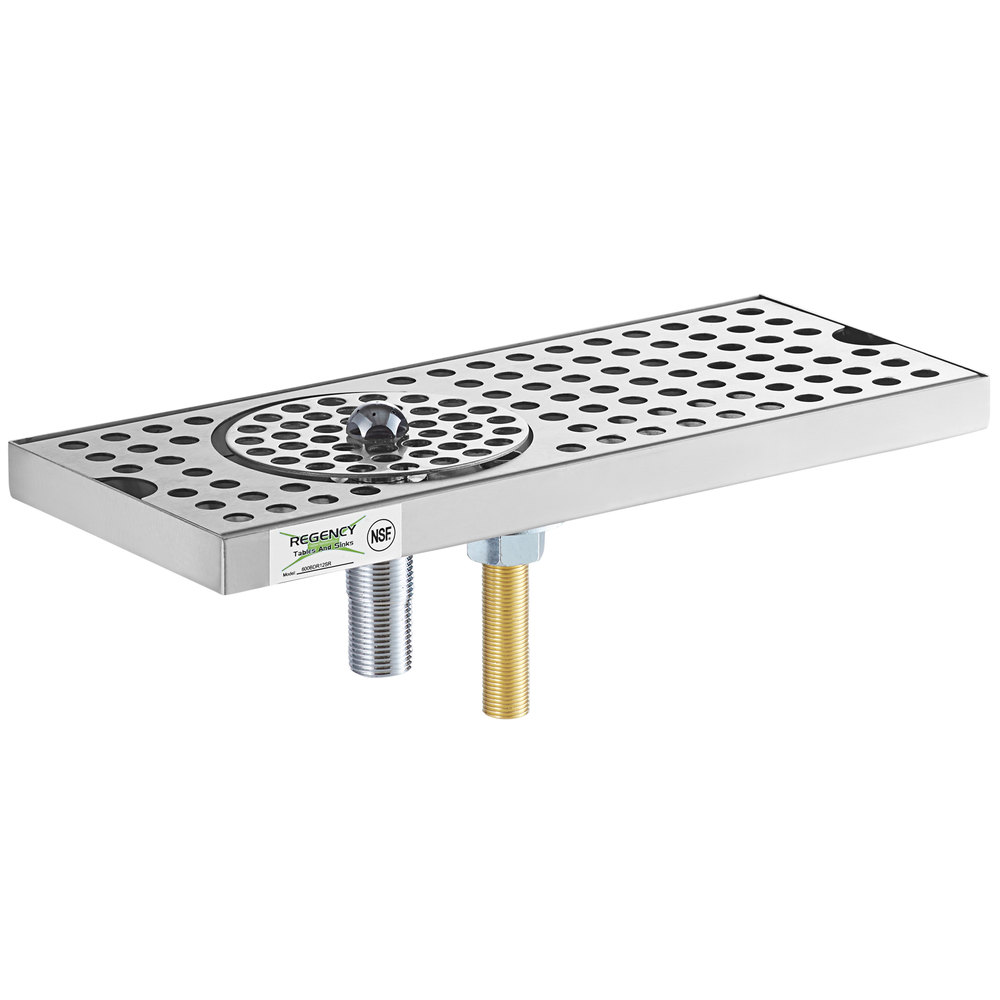 Regency 600BDR12SR 12 inch Stainless Steel Surface Mount Beer Drip Tray with Rinser