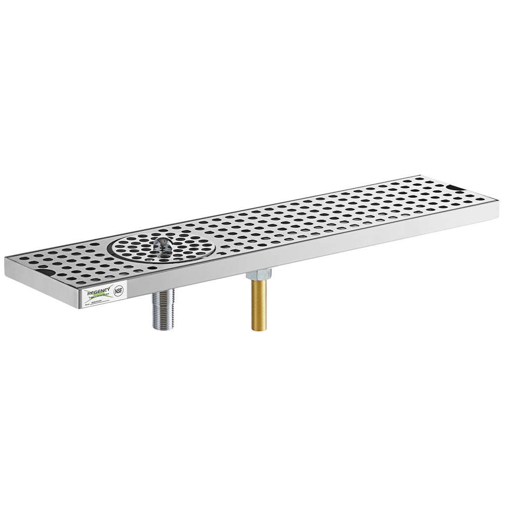 Regency 600BDR20SR 20 inch Stainless Steel Surface Mount Beer Drip Tray with Rinser