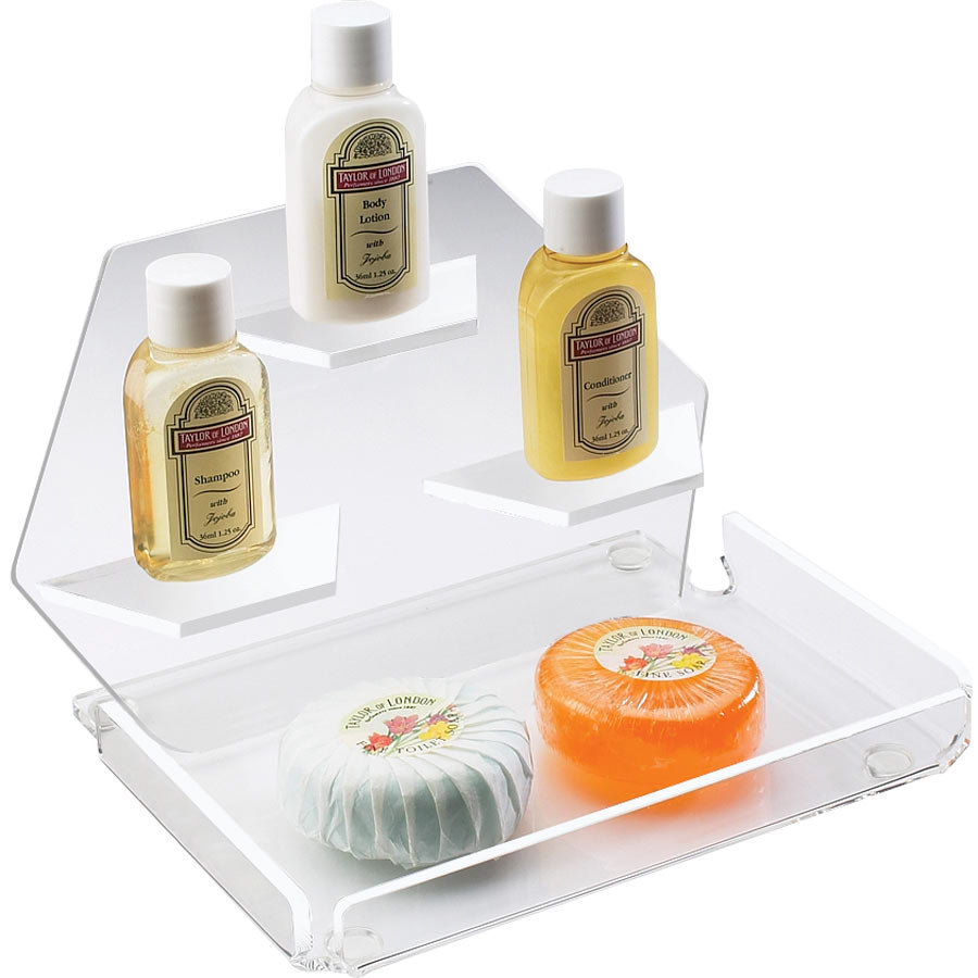 "Cal-Mil 161-12 Clear Amenity Tray with Three Shelves - 7 1/2"" x 7 1/2"" x 5"""