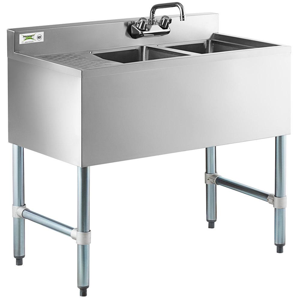 Regency 2 Bowl Underbar Sink with One Drainboard - 36 inch x 18 3/4 inch - Left Drainboard