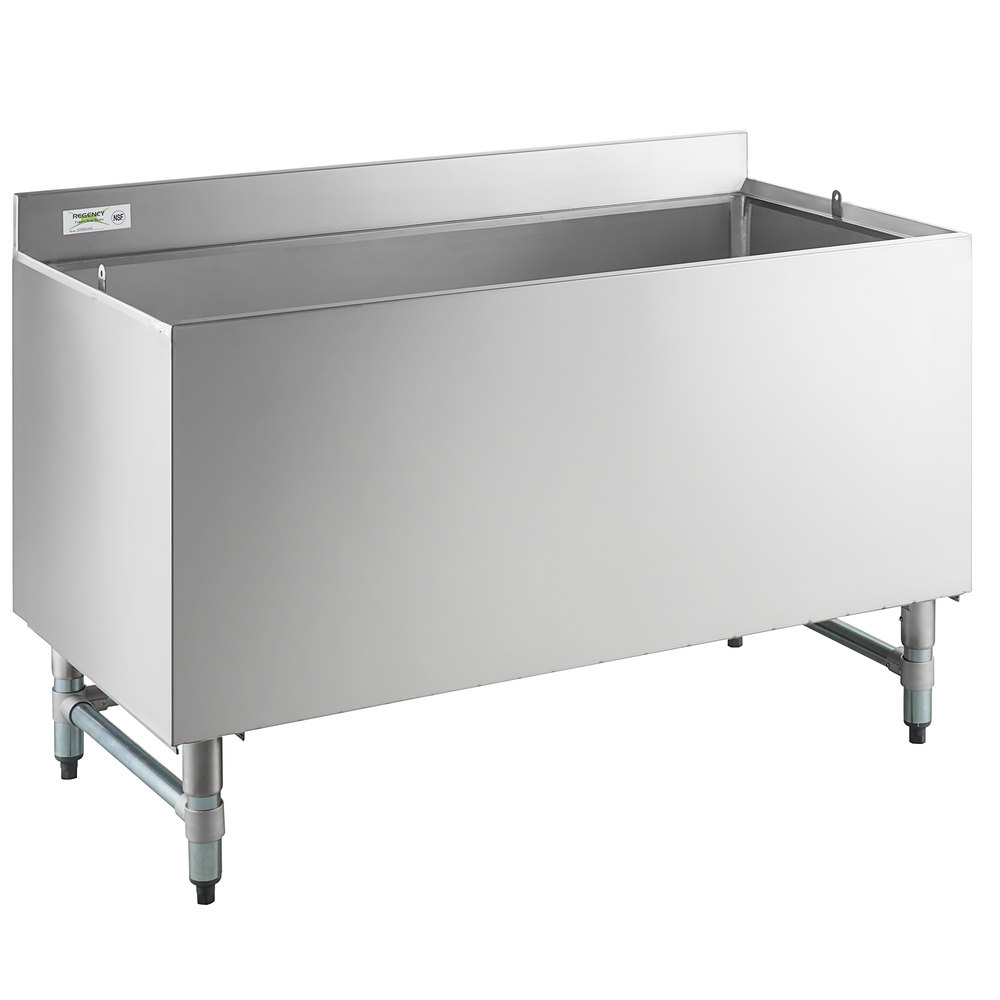 Regency 24 inch x 48 inch Stainless Steel Beer Box with 3 inch Backsplash - 20 3/4 inch x 45 3/4 inch x 18 inch Bowl