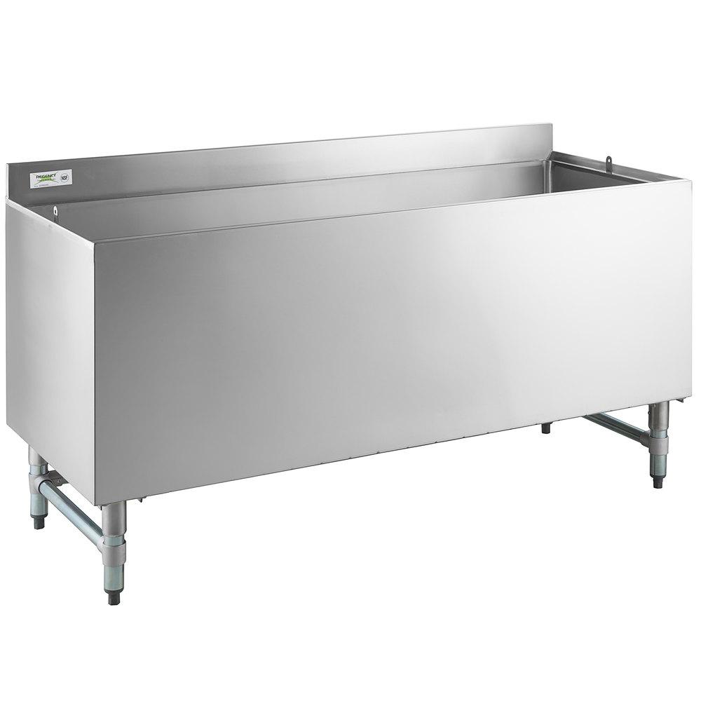 Regency 24 inch x 60 inch Stainless Steel Beer Box with 3 inch Backsplash - 20 3/4 inch x 57 3/4 inch x 18 inch Bowl