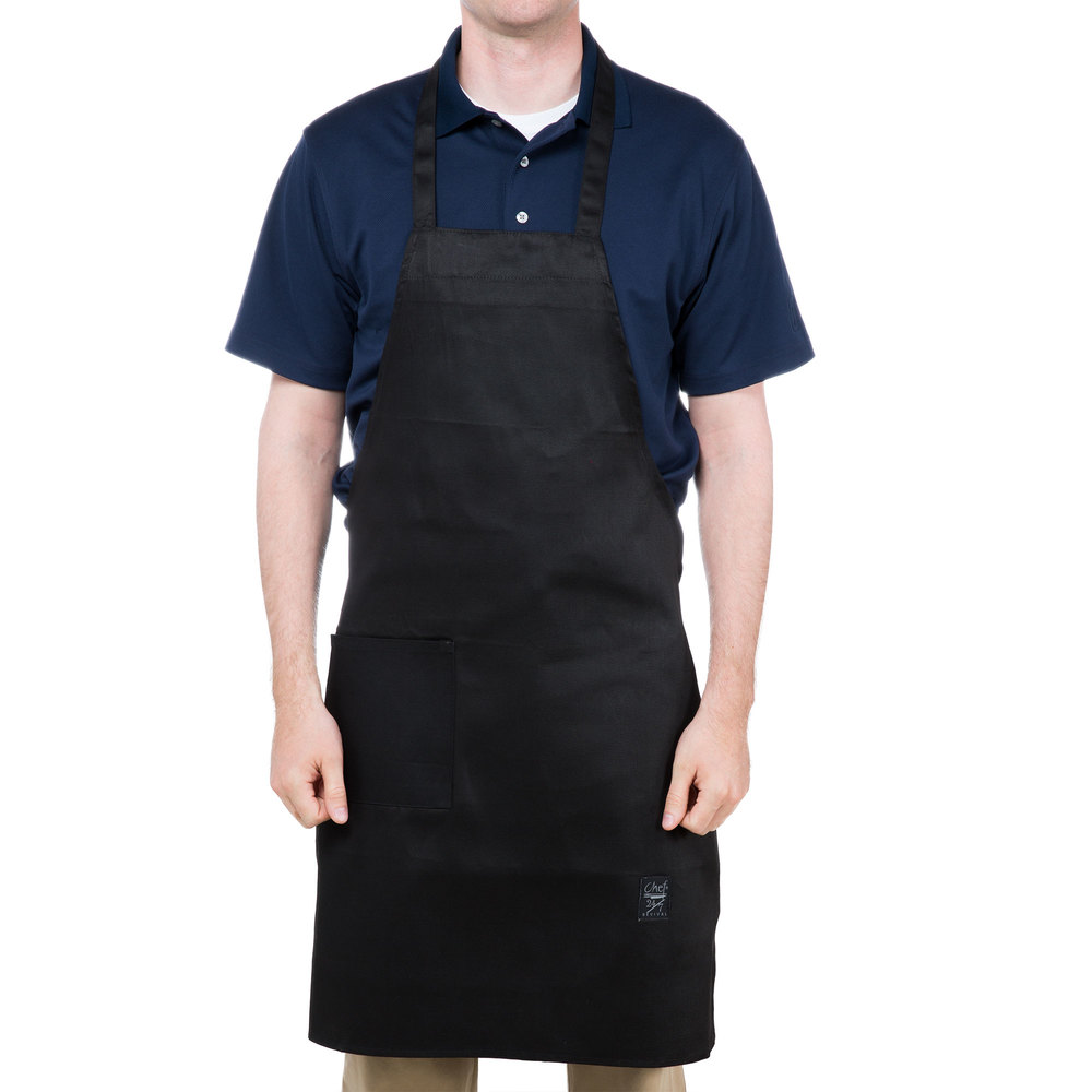 "Chef Revival 601BAC-BK Customizable Full-Length Black Bib Apron - 34""L x 28""W"