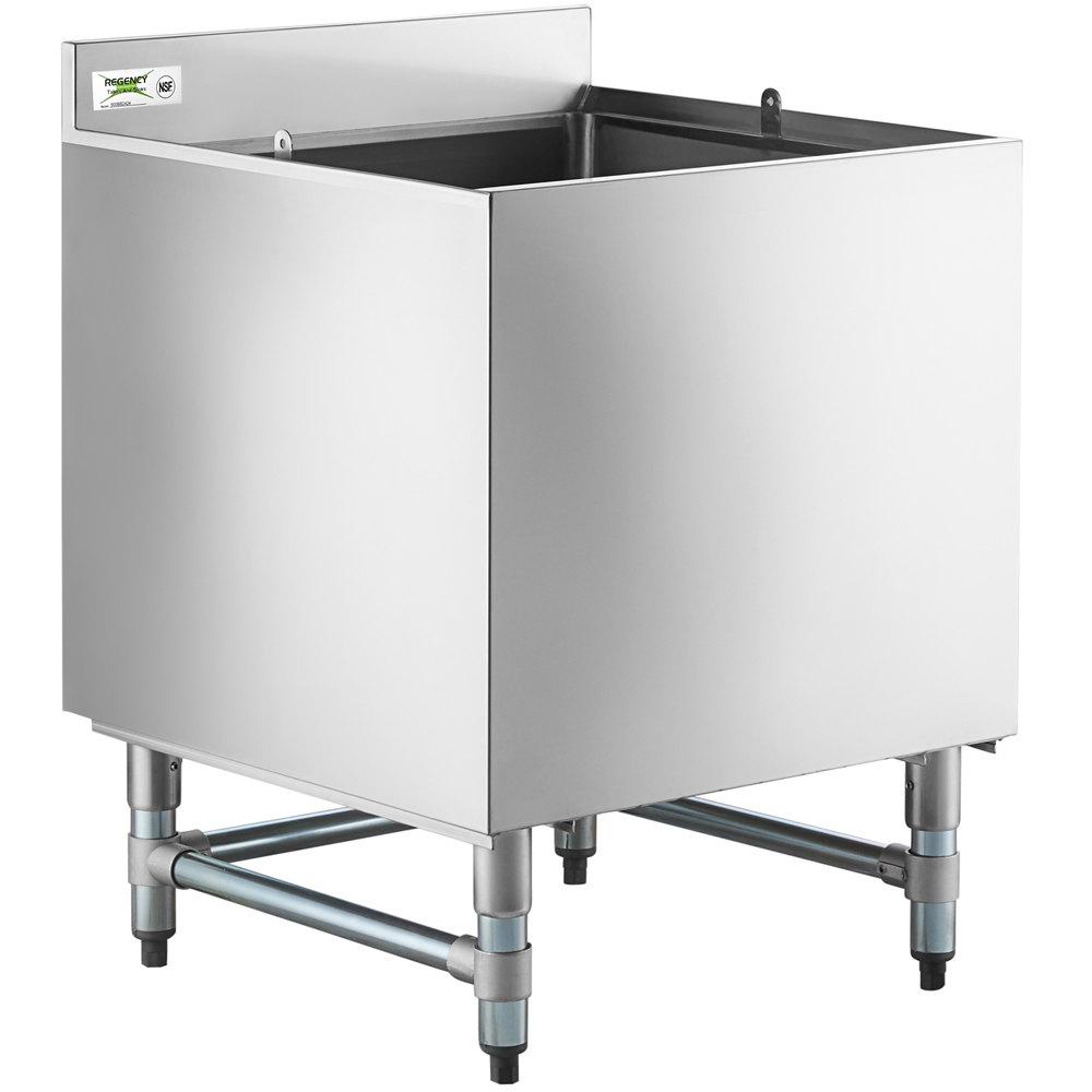 Regency 24 inch x 24 inch Stainless Steel Beer Box with 3 inch Backsplash - 20 3/4 inch x 21 3/4 inch x 18 inch Bowl