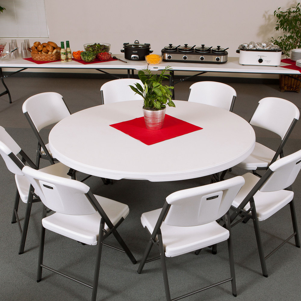 "Lifetime Round Folding Table, 60"" Plastic, White Granite"
