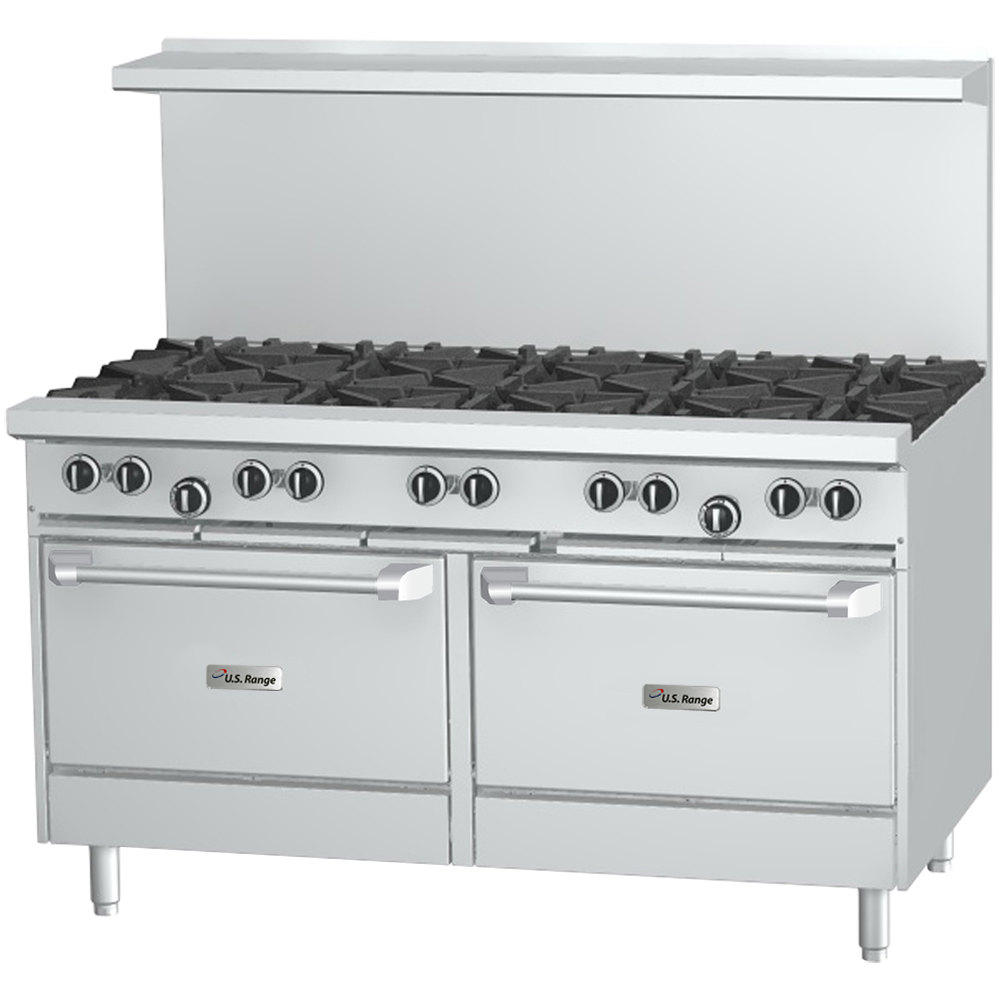 "Natural Gas U.S. Range U60-10RR 10 Burner 60"" Gas Range with 2 Standard Ovens - 396,000 BTU"