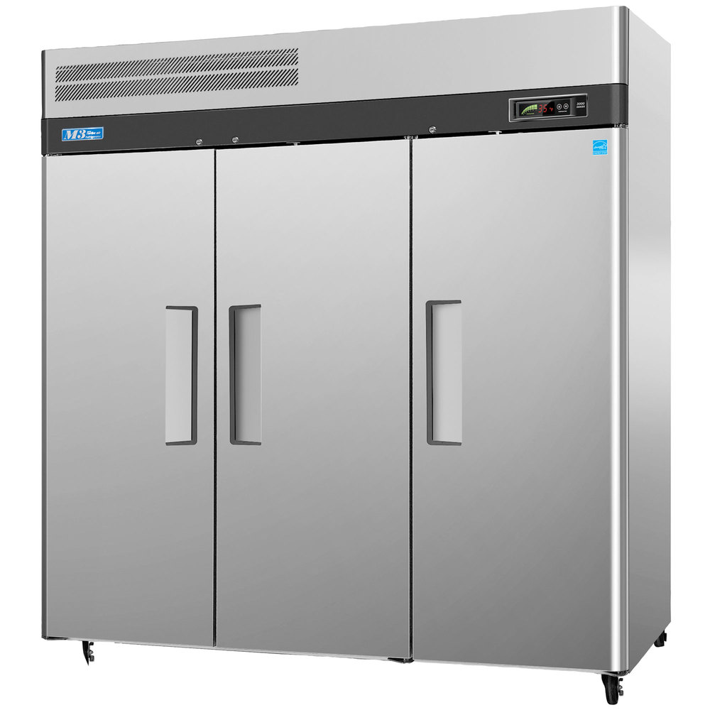 "Turbo Air M3F72-3 78"" M3 Series Three Section Solid Door Reach in Freezer - 72 cu. ft."