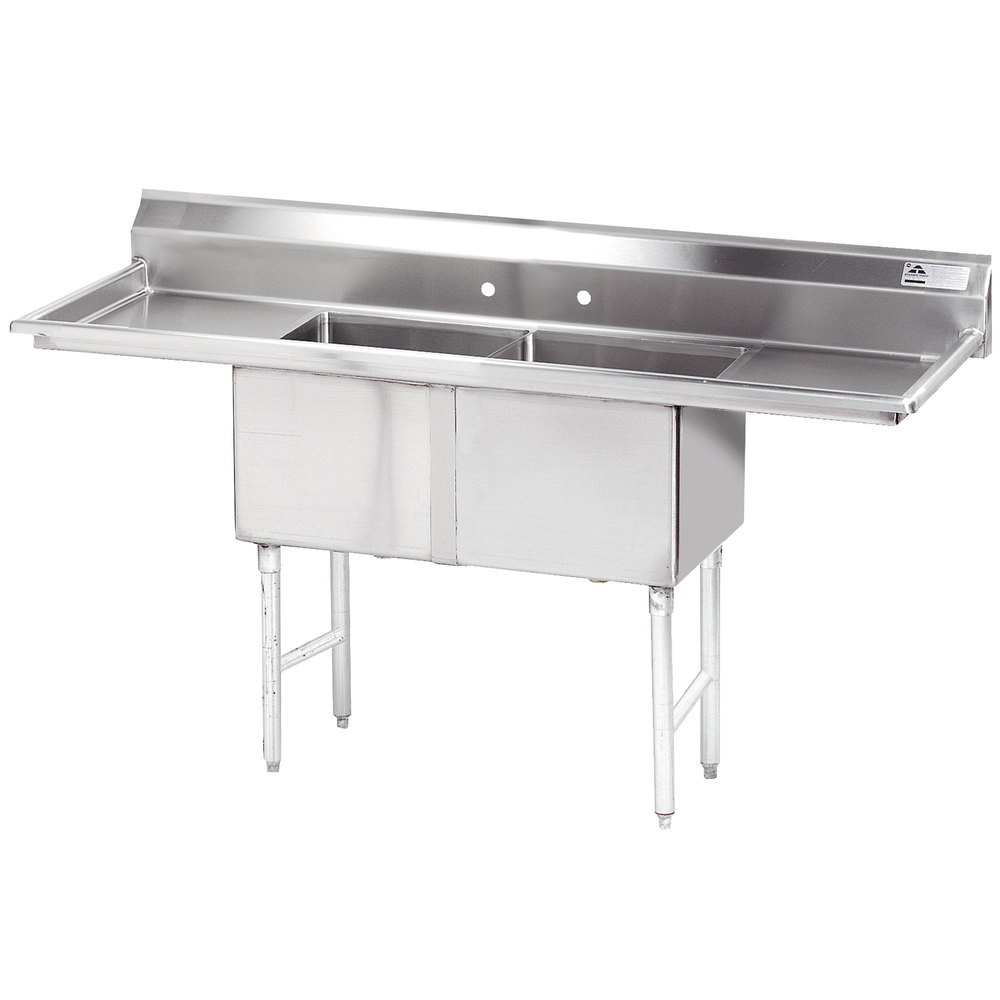 Stainless Steel Sinks With Drainboards : ... Stainless Steel Commercial Sink with Two Drainboards - 72