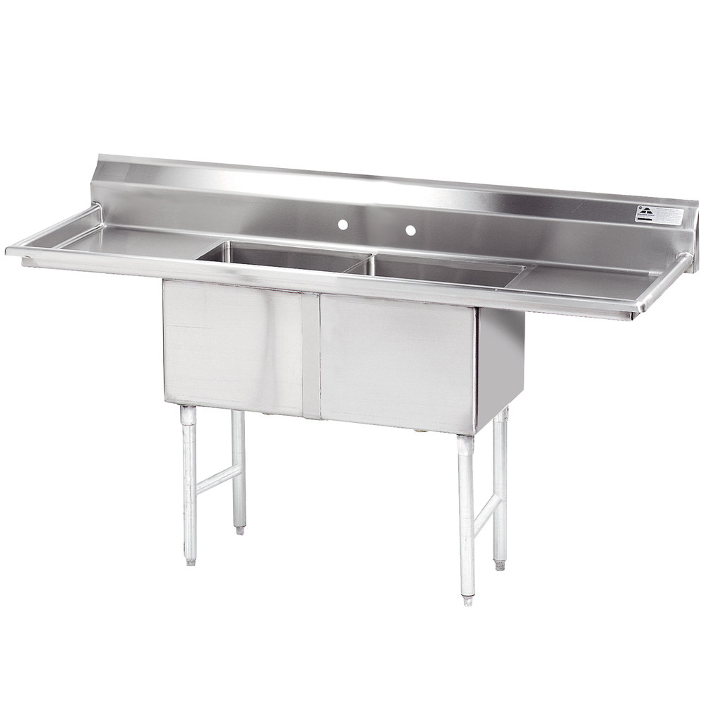 "Advance Tabco FC-2-1818-18RL Two Compartment Stainless Steel Commercial Sink with Two Drainboards - 72"" with 18"" X 24"" Drainboard"