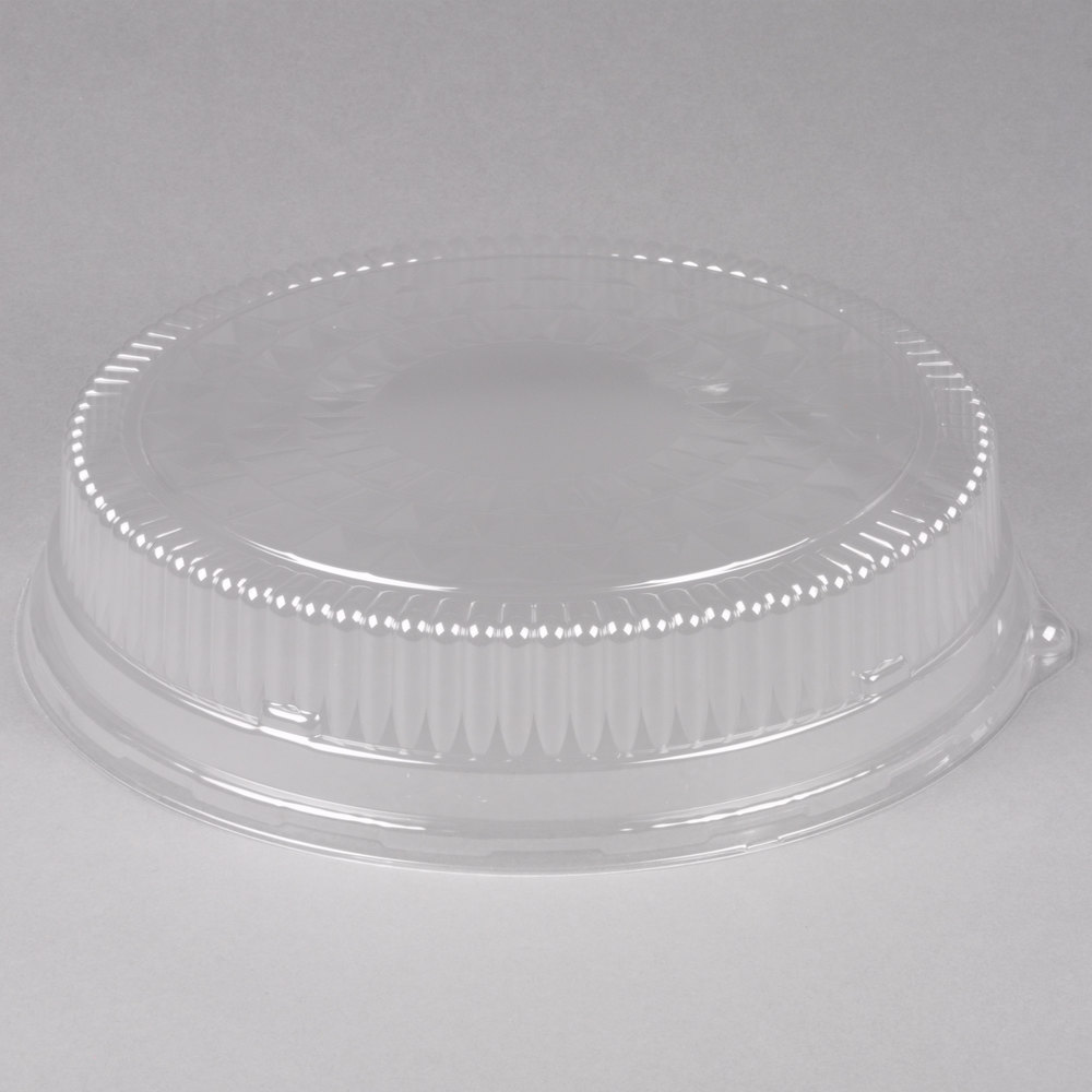 "Durable Packaging 16DL 16"" Plastic Cut Crystal Dome Lid - 5/Pack"