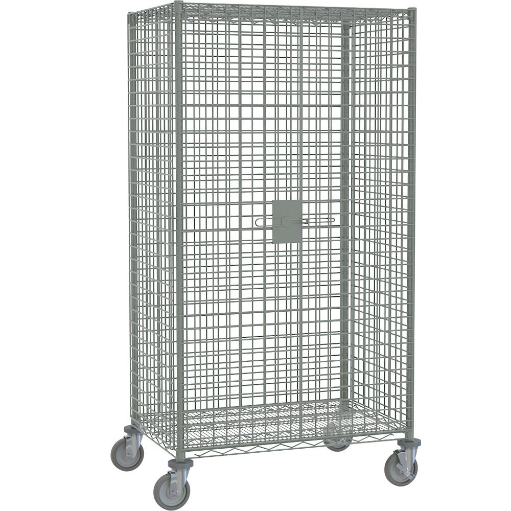 "Metro SEC53EC Chrome Mobile Standard Duty Wire Security Cabinet with Casters (Two Locking) - 40 3/4"" x 27 1/4"" x 68 1/2"""