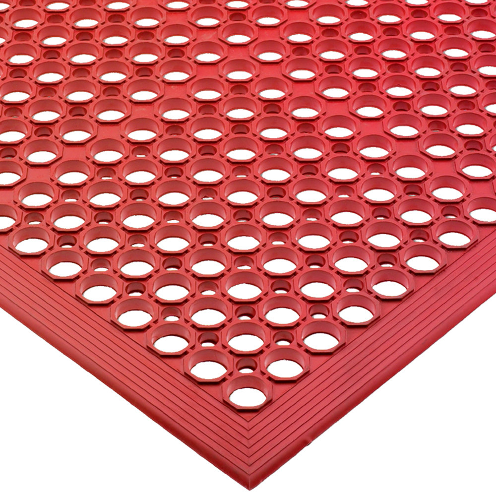 "San Jamar KM1200B EZ-Mat 3' x 5' Red Grease-Resistant Bagged Floor Mat with Beveled Edge - 1/2"" Thick"