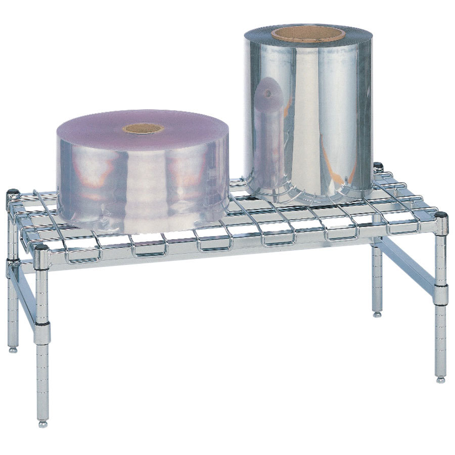 "Metro HP32C 30"" x 18"" x 14 1/2"" Heavy Duty Chrome Dunnage Rack with Wire Mat - 1600 lb. Capacity"